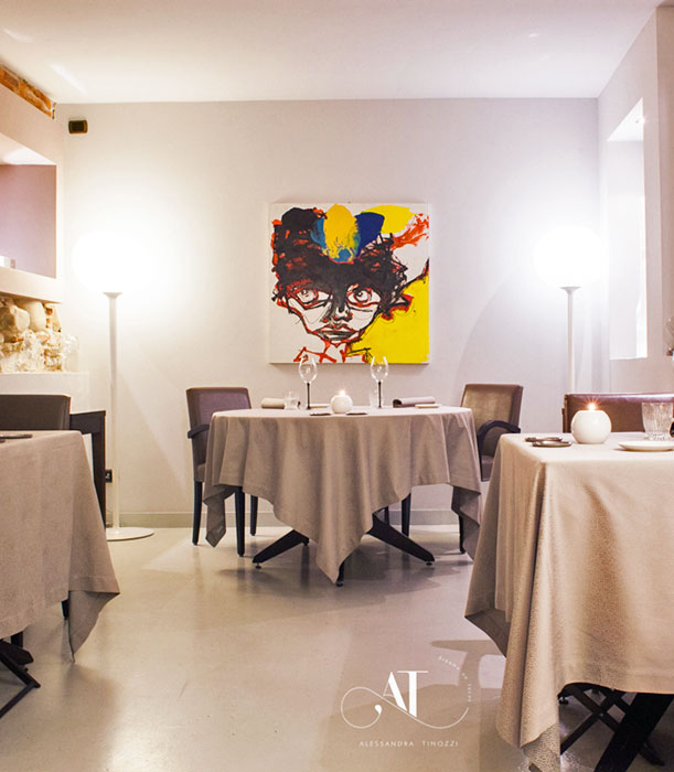 view of the restaurant tables at alba larossa
